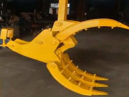 挖掘机前端属具: 抓石器抓铁器抓钢器抓木器机械夹子挖机爪子