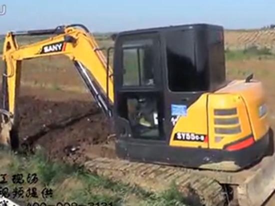 三一sy55挖掘机施工现场