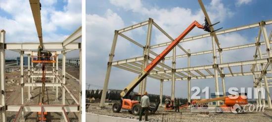 施工效率提高5倍,高空作业平台与伸缩臂叉装车强强联合!
