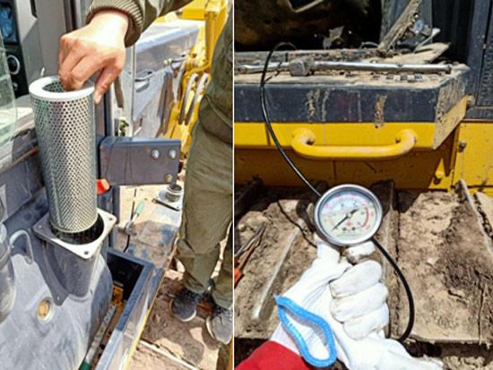 SD16推土机铲刀提升缓慢倾斜无动作故障排查